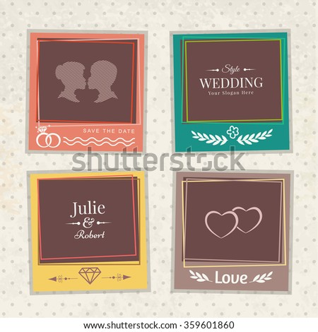 Vector template vintage marriage photo frames for your picture. Insert your picture from wedding. Scrapbook concept. - stock vector