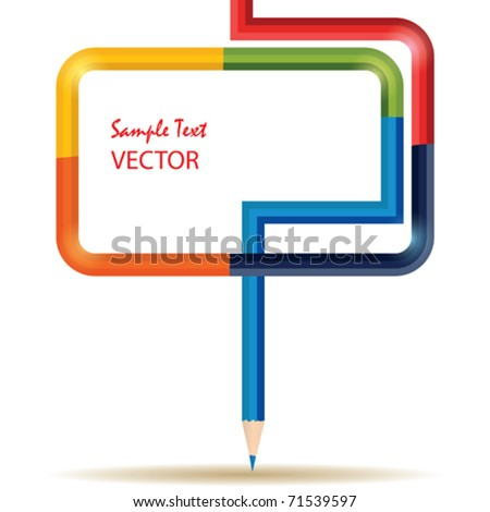 Vector Template with Colored Pencil - stock vector