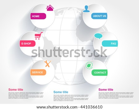Vector template with globe for web use. Menu button with symbol of Home, E-shop, Service, About us, FAQ, Contact. Paper circular label. Navigation options. 6 steps on the website. - stock vector
