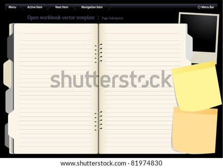 Vector template with navigation buttons, opened notebook on desktop. - stock vector