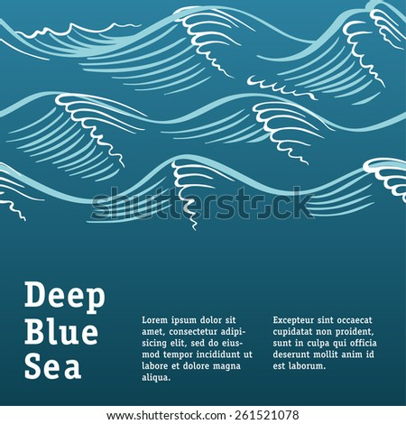 Vector template with ocean waves. Sea style. Good for card, cover, presentation or book page. Seamless wave border.