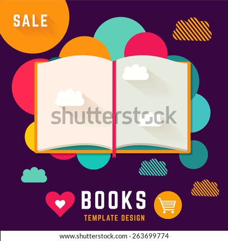 Vector template with open book - stock vector