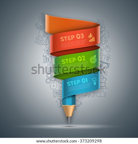 Vector template with pencil ribbon banner flow chart. Can be used for education infographic, banner, diagram, step up options. Doodles icons set. - stock vector