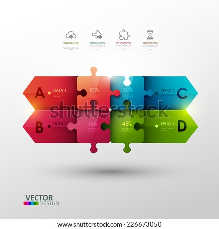 Vector template with puzzle pieces for infographic or presentation  - stock vector