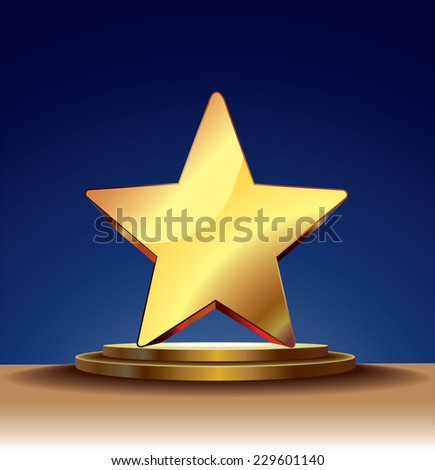 Vector template with stage and gold 3d star. - stock vector