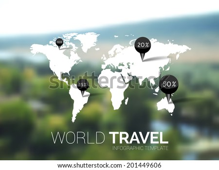 Vector template world map on blurred stock vector hd royalty free world map on blurred nature background points travel concept web gumiabroncs Choice Image