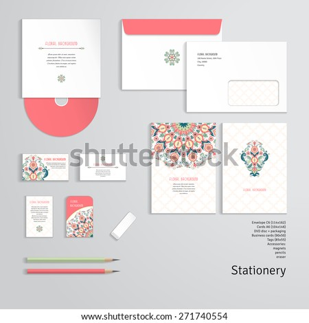 Vector templates. Beautiful floral round pattern in modern style and moroccan tiles ornament. Envelope, cards, business cards, tags, disc with packaging, pencils, eraser. - stock vector