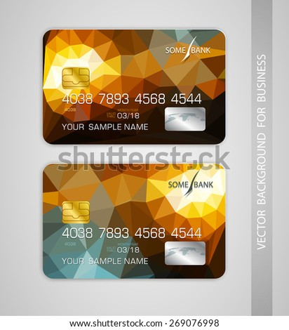 vector templates credit card with colorful ,abstract pattern - stock vector