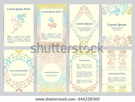 Vector templates for A4 with florals. Based on ancient greek, islamic and turkish ornaments. For invitation, banner, postcard or flyer.