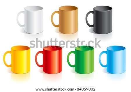 Vector templates mugs of different colors - stock vector