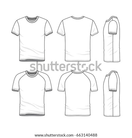 Vector Templates Of Clothing Set. Front, Back, Side Views Of Blank T