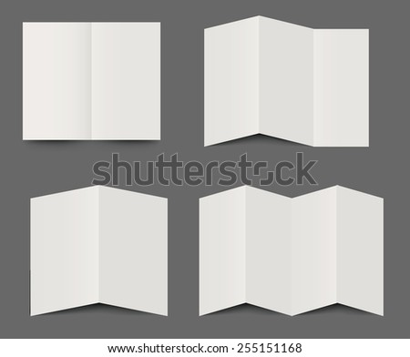 Vector templates of dimensional folded blank white brochures for use as design elements for leaflets, advertising and branding in double, triple fold and four fold formats - stock vector