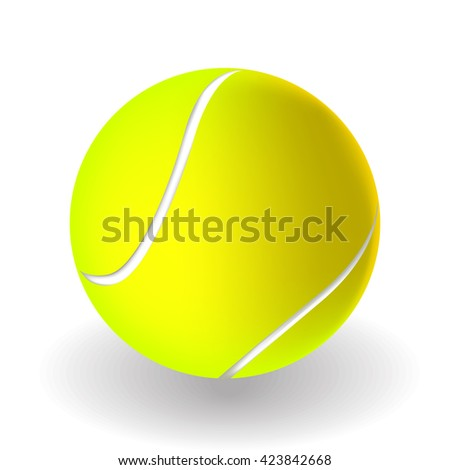 vector tennis ball on white background with shadow