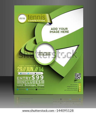 Vector tennis Competition Flyer,  Brochure, Magazine Cover & Poster Template  - stock vector