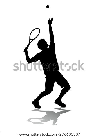 vector tennis player service. black silhouette on white background