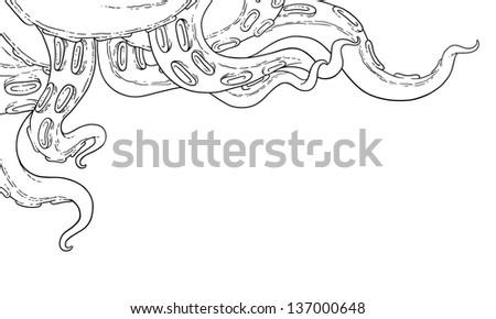 Vector tentacles black&white - stock vector