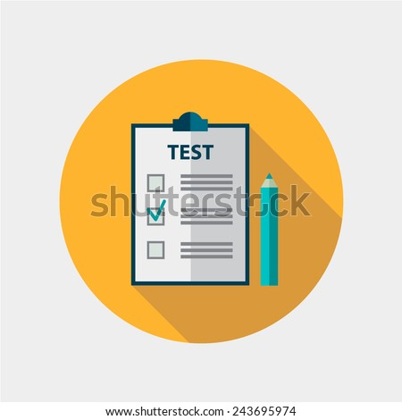 vector test flat design icon isolated, education, exam - stock vector