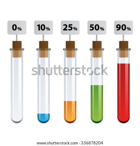vector test tubes percent infographic - stock vector