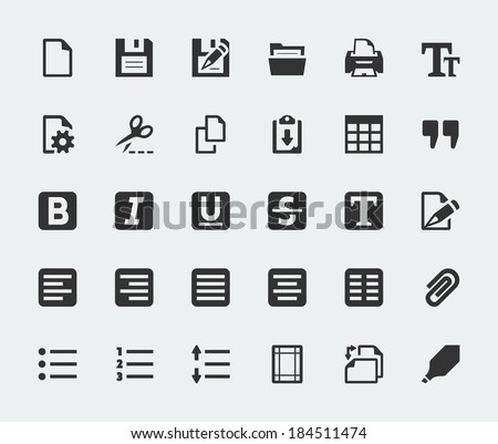 Vector text editor mini icons set - stock vector