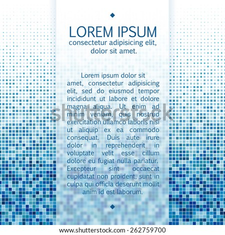 Vector text frame template with frosted glass effect and mosaic background. - stock vector