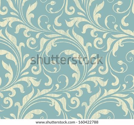 Vector textile / wallpaper damask seamless pattern. - stock vector