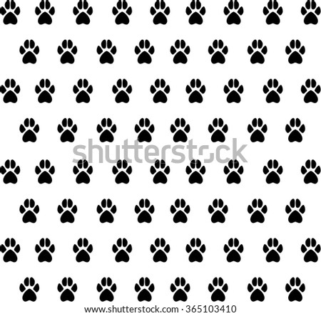 Vector texture from black animal paw prints. Texture prints dog, cat. - stock vector