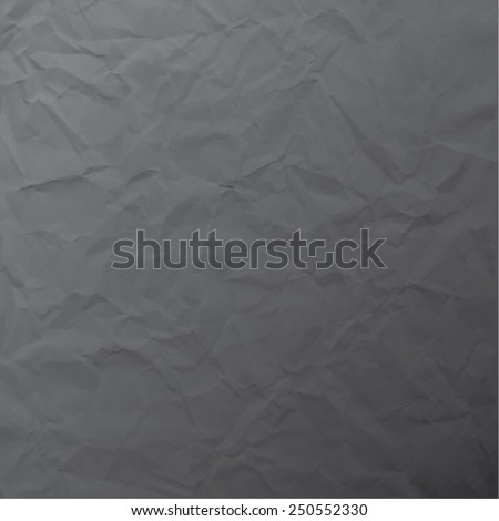 Vector texture of crumpled paper. Background paper. Textured wallpaper. Color dark grey. Use for antique, retro, vintage, old, rustic style too. Eps 10 vector file.  - stock vector