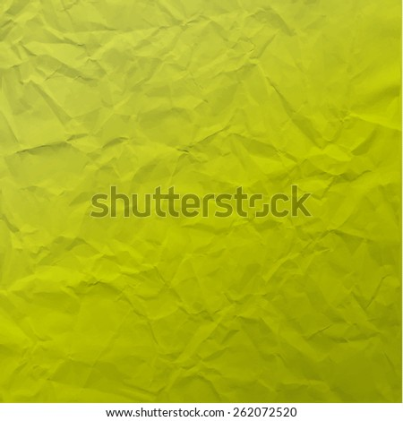 Vector texture of crumpled paper. Background paper. Textured wallpaper. Modern color significant  green. Use for label, card, banner etc. Eps 10 vector file.  - stock vector