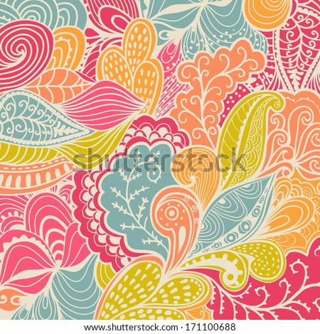 Vector texture with abstract flowers. Colorful background. Ethnic  pattern. Vector backdrop. Bright pattern. Summer template. Use for wallpaper,pattern fills, web page background - stock vector