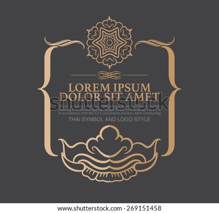 Vector Thai art with copy space for text in trendy mono line style - art  element in golden and black color . - stock vector