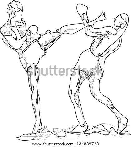 Vector Thai Boxing - stock vector