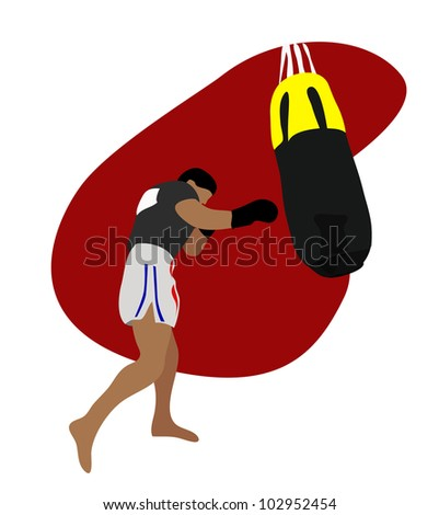Vector - Thai boxing.He is currently training Thai boxing.It called Muay Thai. - stock vector