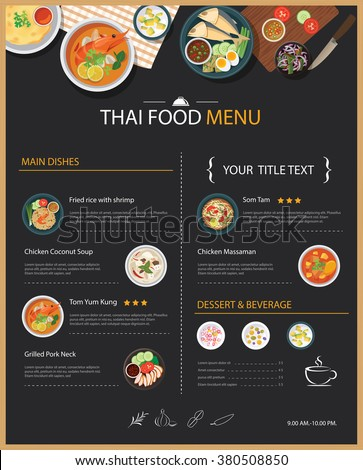 Vector Thai Food Restaurant Menu Template Stock Vector