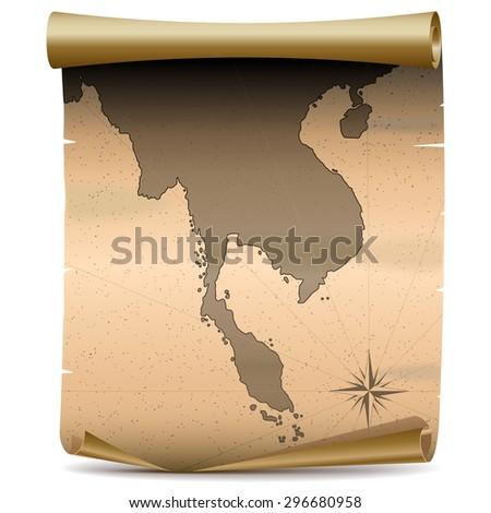 Vector Thailand Vintage Map - stock vector