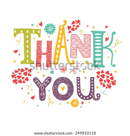 Vector Thank you card with hand drawn lettering with flower decorative elements isolated on white background - stock vector