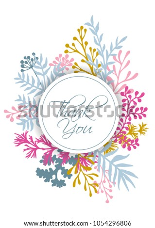 Vector Thank You Card With Herbal Twigs And Branches Wreath Border Circle Frame Rustic