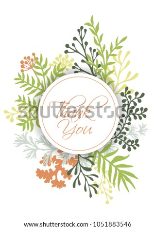 Vector Thank You Card With Herbal Twigs And Branches Wreath Ring Border Circle Frame