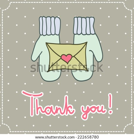 vector thank you card with mittens and a letter on a light background - stock vector