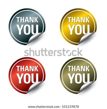 "Vector ""thank you"" stickers - stock vector"
