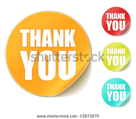 "vector ""thank you"" stickers - stock vector"
