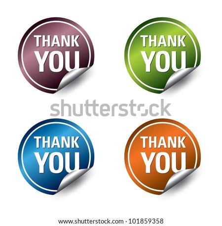 """Vector """"thank you"""" stickers. Vector Eps10. - stock vector"""