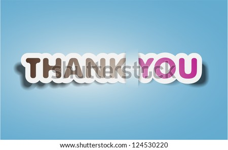 Vector Thank you text - stock vector