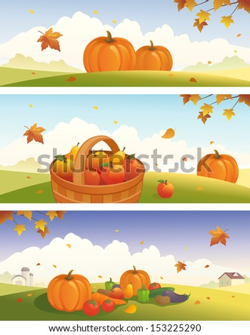 Vector Thanksgiving and fall backgrounds with ripe fruit and vegetables - stock vector