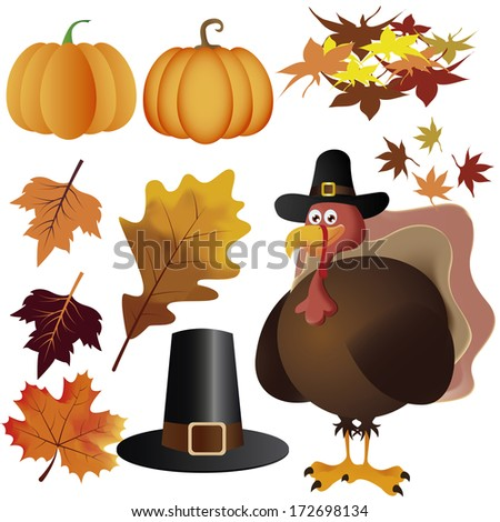 Vector Thanksgiving Day Related Elements Editable