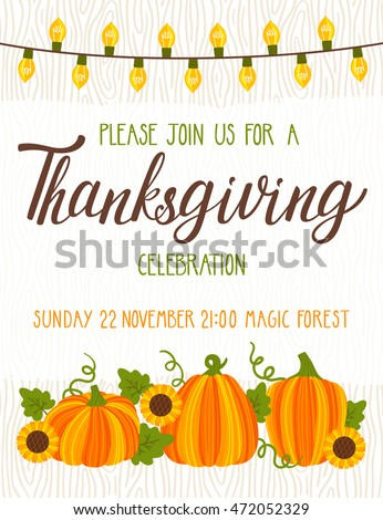vector thanksgiving invitation template invite harvest stock vector