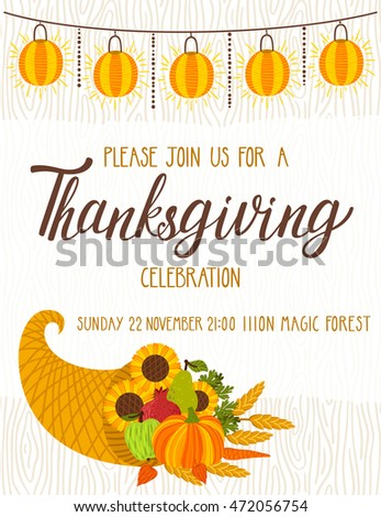 Thanksgiving invitation stock images royalty free images vector thanksgiving invitation template invite for harvest dinner autumn background with wooden texture stopboris Gallery