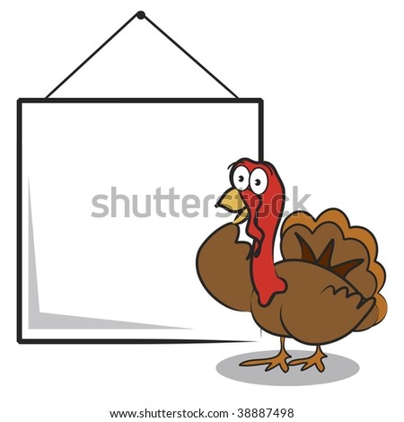 Vector Thanksgiving turkey with blank sign to add your own text - stock vector