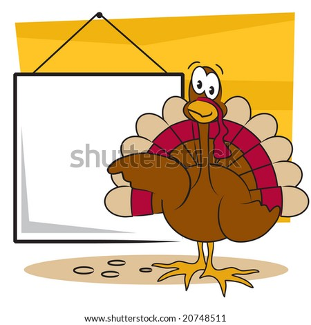 Vector Thanksgiving turkey with sign you can add your own text to - stock vector