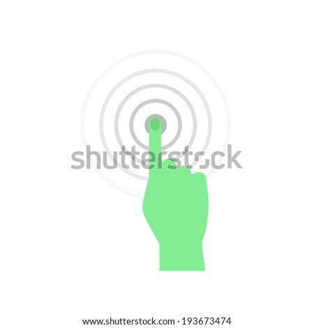 Vector the Hand with the pressed finger. - stock vector