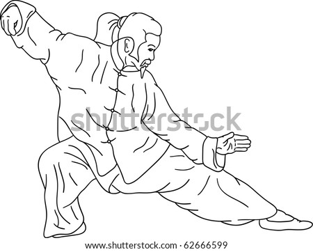 vector - The ninja  does an element tai-chi , isolated on background - stock vector